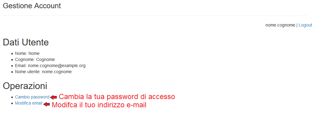 Flup user email/password changing page